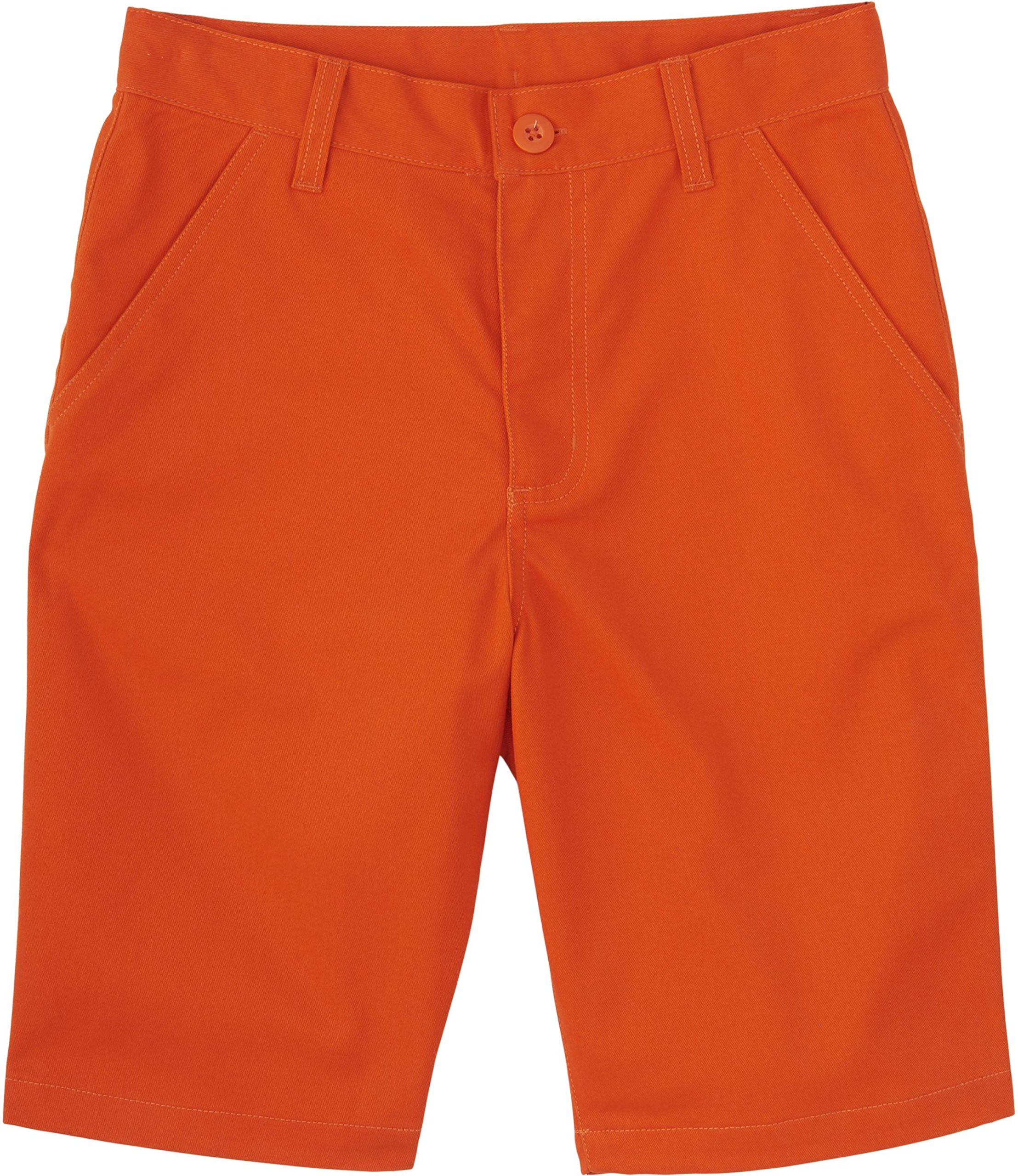 French Toast School Uniforms Boys Solid Twill Flat Front Shorts, Orange Mandarin, 5