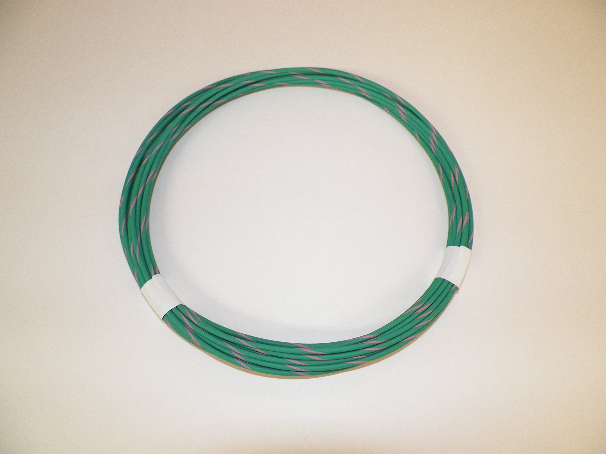 18 Ga Green/Pink Striped Automotive/General Purpose GXL Wire .94 O.D. 25' Superior Abrasion Resistance, High Heat, Resist grease,Oil, Gasoline,Acids