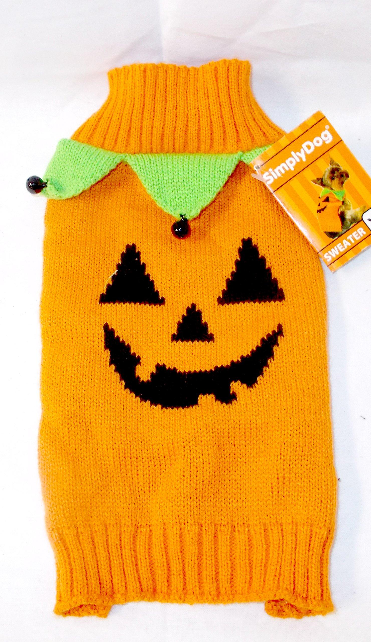 SimplyDog Orange Jack O Lantern Pumpkin Sweater Jester Collar Jingle Bells S 14-17' NWT