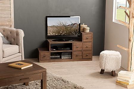 MACABANE Mueble TV Escalera Madera, 37 x 105 x 55 cm: Amazon.es: Hogar