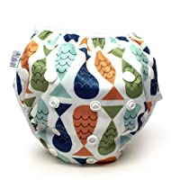 Nageuret Reusable Swim Diaper, Adjustable & Stylish Fits Diapers Sizes N-5 (8-36lbs) Ultra Premium Quality for Baby Shower Gifts & Swimming Lessons (Fish- Red, Green, Blue)