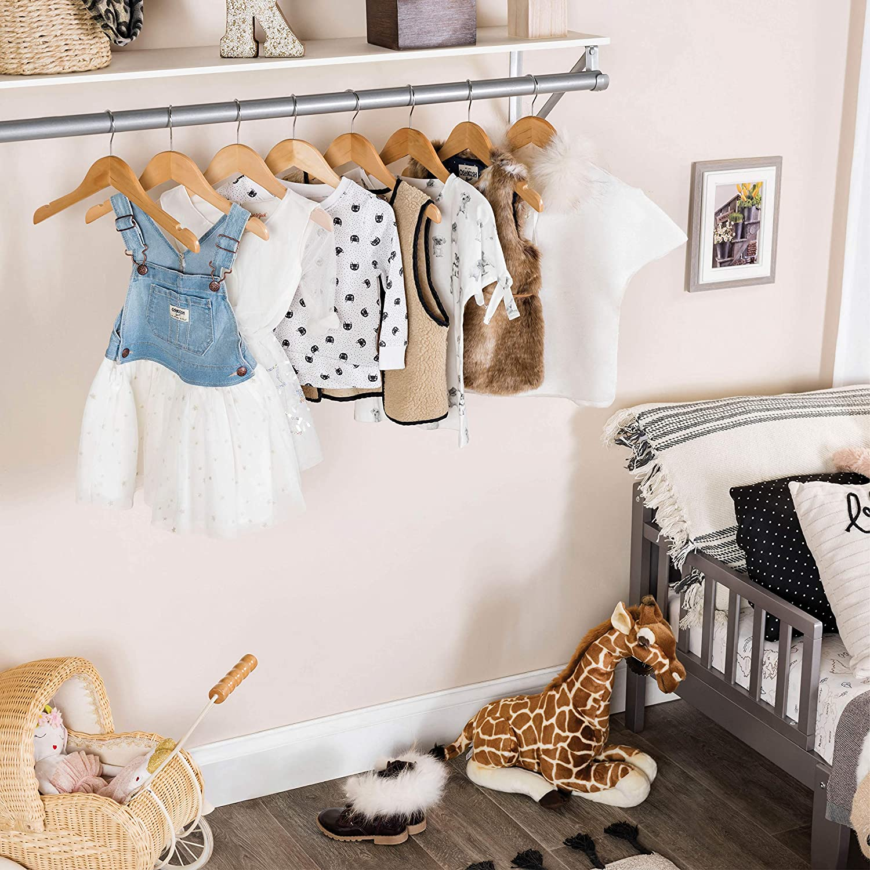 High-Grade Wooden Childrens-Kids Hangers 10 Pack Smooth Wood Baby Hangers