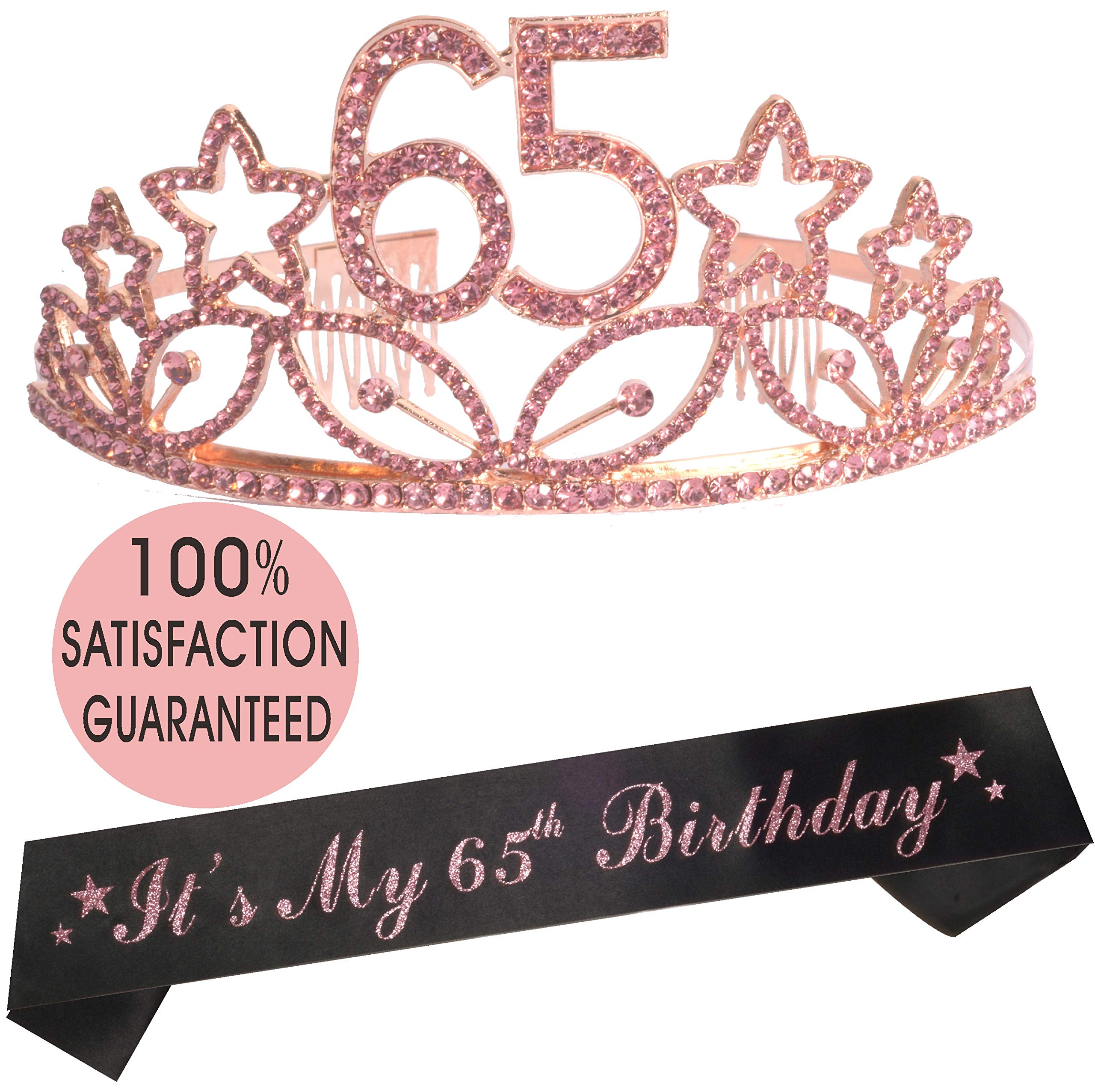 65th Birthday Tiara and Sash, HAPPY 65th Birthday Party Supplies, 65th Glitter Satin Sash and Crystal Tiara Birthday Crown for 65th Birthday Party Supplies and Decorations (Tiara+Sash) (Pink)