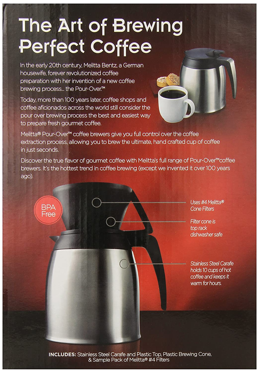 amazoncom melitta coffee maker 10 cup pour over brewer with stainless thermal carafe ground coffee grocery u0026 gourmet food