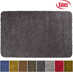 Kaluns Door Mat, Front Doormat, Super Absorbent Mud Mats, Doormats for Entrance Way, Entry Rug, Non Slip PVC Waterproof Backing, Shoe Mat for Entryway, Machine Washable (24x36 Black/Grey)