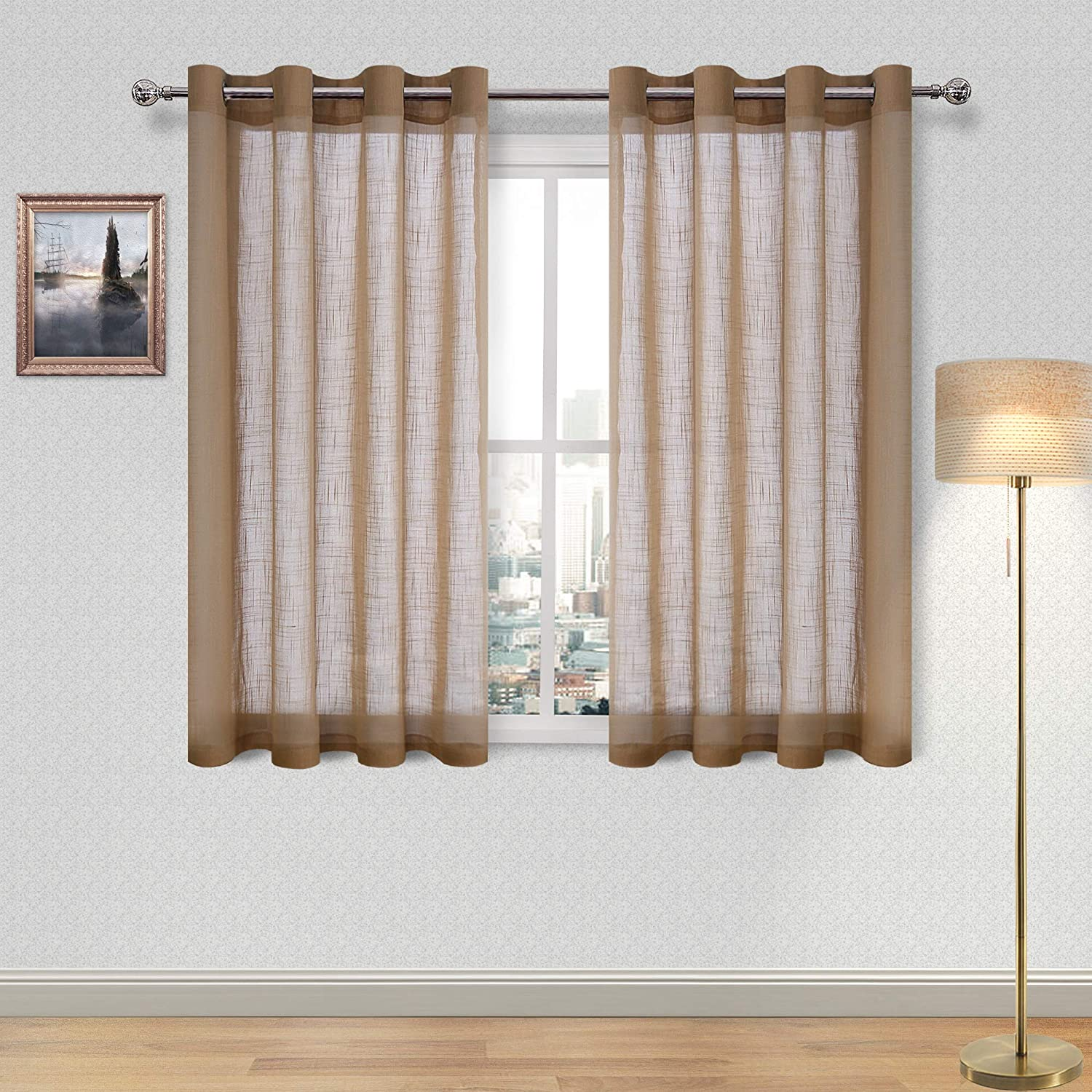 DWCN Faux Linen Brown Sheer Curtains - Window Grommet Voile Curtains for Bedroom Living Room 52 x 54 Inch Length, Set of 2 Curtain Panels