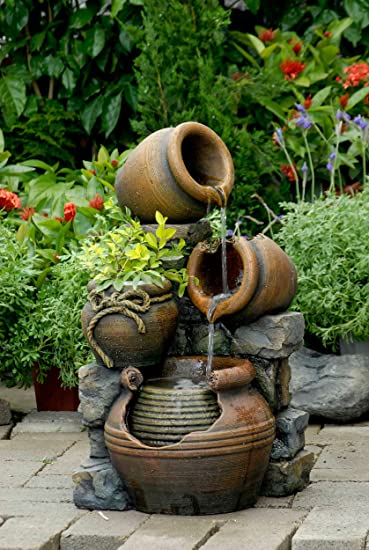 Multi Pots Outdoor Water Fountain With Flower Pot