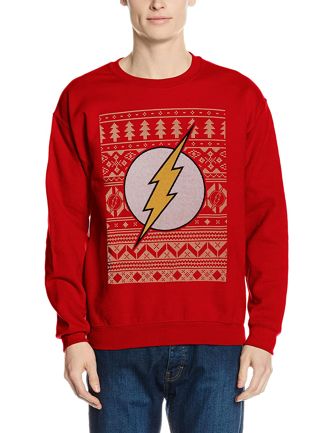 DC Comics Men's Flash Christmas Sweater Red PE11926CNCP