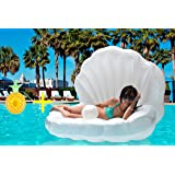 TGG Colossal Sea Shell Pool Float/ Swimming Pool Inflatable Raft 62 x 54 x 54 inches (Pearl White w/ White Handles)