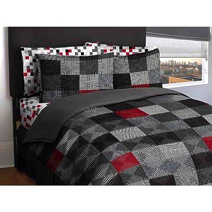 Amazon Com Ln Twin Size Teen Boys Red Gray White Black Geo Blocks