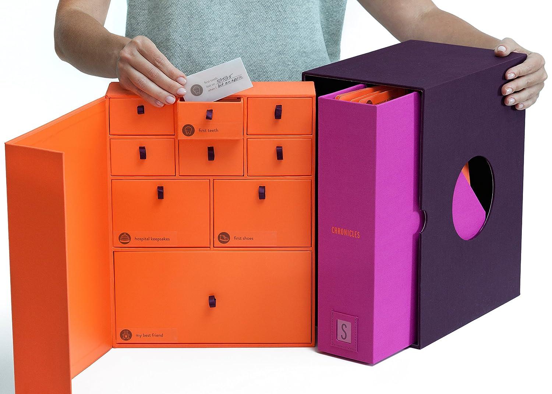 Baby Keepsake Box - Newborn Keepsake Gift – Pregnancy Gift – Baby Shower Gift - Memory Box- Personalized - Handmade & Acid-Free for Durability – Customizable + Memories Organizer System - Plum Savor BE1