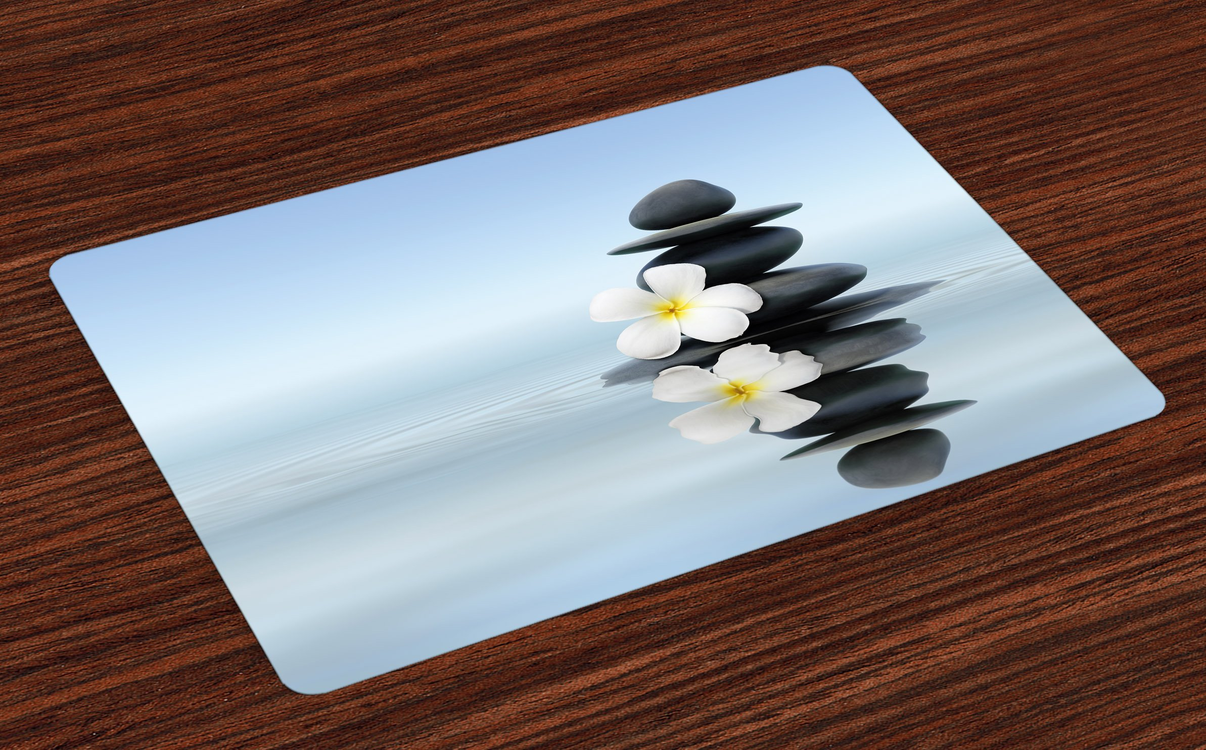 Ambesonne Spa Place Mats Set of 4, Hot Zen Massage Stones with Asian Frangipani Plumera Reflection on The Waters, Washable Fabric Placemats for Dining Room Kitchen Table Decor, Black and White