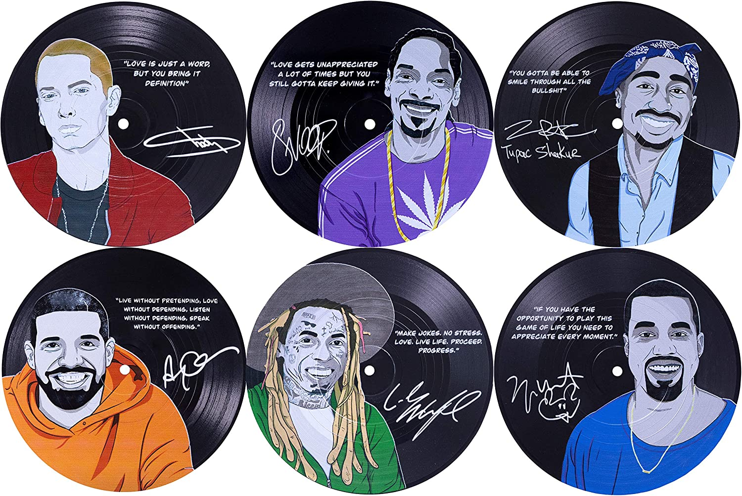 Our Casa Hip Hop Coasters for Drinks | Home Decor Music Record Drink Coasters Set. Housewarming, Living Room Decoration Gift 6 Piece Set of 4 Inch Retro Record Disk Coasters Gangsta Rap Music Design
