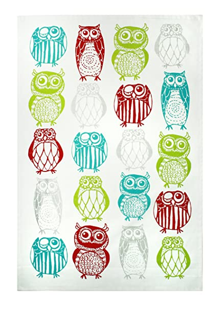 MUkitchen 100% Cotton Oversized Designer Kitchen Towel, Happy Owls   20 X  30 Inches
