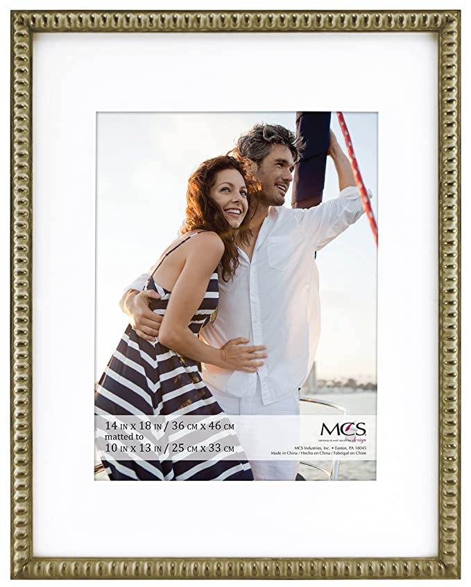 Amazon.com: MCS 14x18 Inch Beaded Frame with 10x13 Inch Mat Opening ...