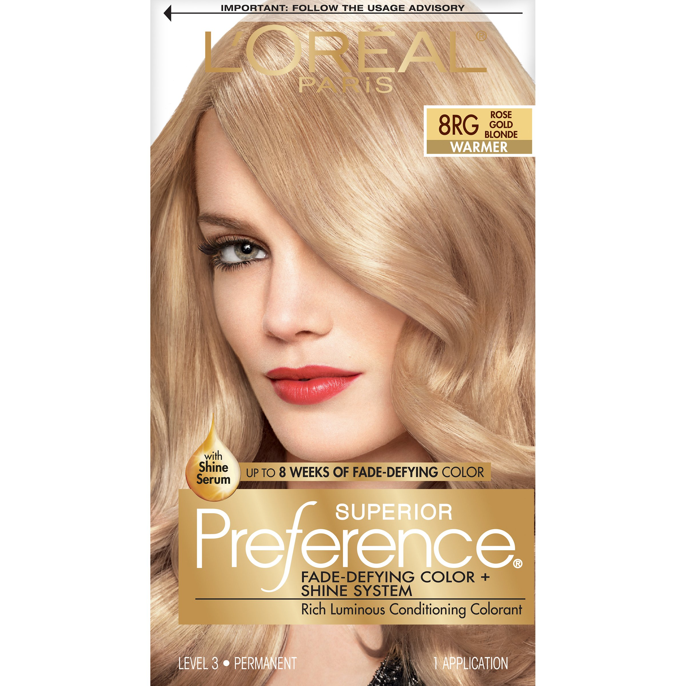L'Oreal Paris Superior Preference Fade-Defying Color + Shine System, 8RG Rose Gold Blonde(Packaging May Vary) by L'Oreal Paris