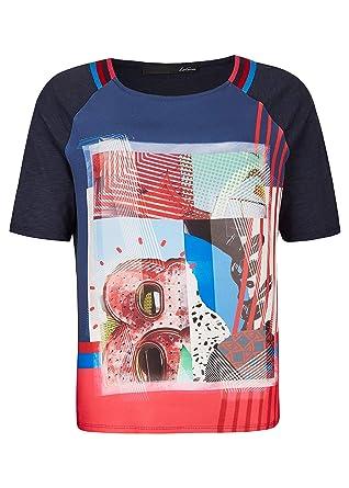 lecomte Damen T Shirt mit Front Print und Galonstreifen