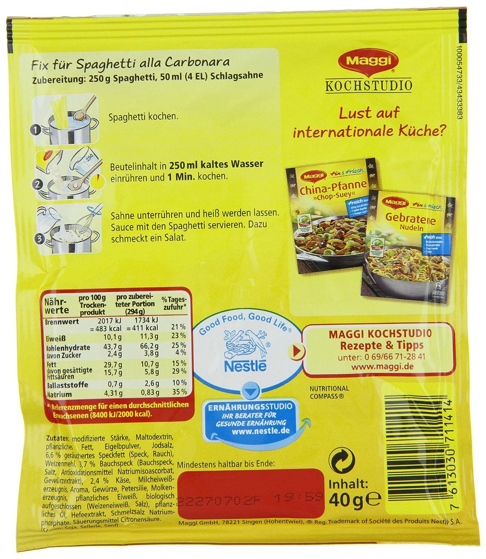 Amazon.com : Maggi Fix Spaghetti Carbonara, 32er Pack (32 x 40 g ...