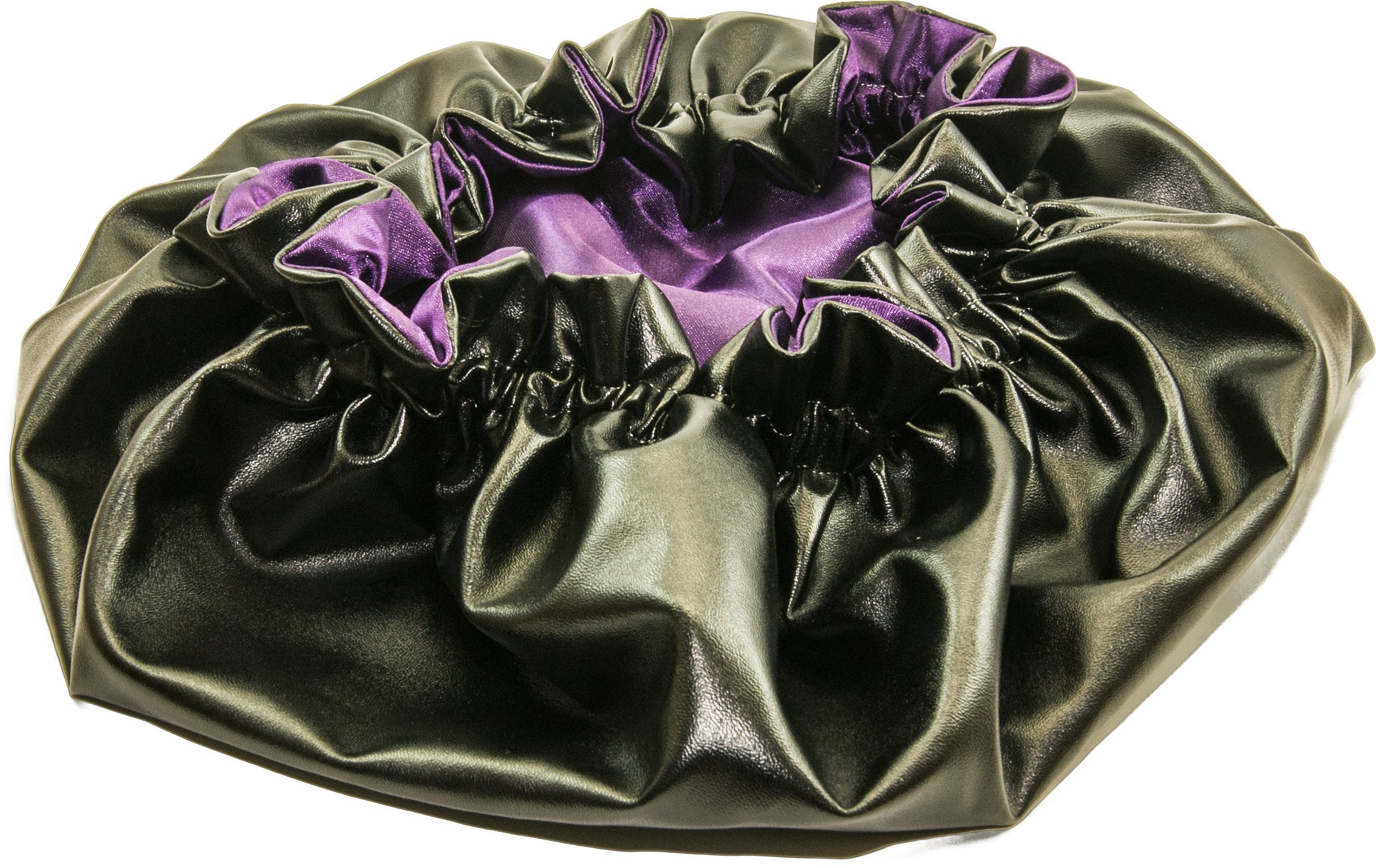X Large PLUM-Leather & Satin hair bonnet - Shower Cap Large (6 in 1) Leather & Satin hair bonnet - Shower Cap - Self Warming Hot Oil Treatment - Deep Condition - Cold & Flu and GYM BONNET
