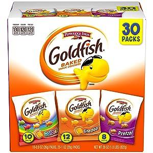 Pepperidge Farm Goldfish Classic Mix Crackers, 29 oz. Variety Pack Box, 30 Count Snack Packs