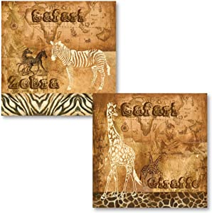 Popular African Safari Zebra and Giraffe Prints on a Map Background; Two 12X12 Poster Prints