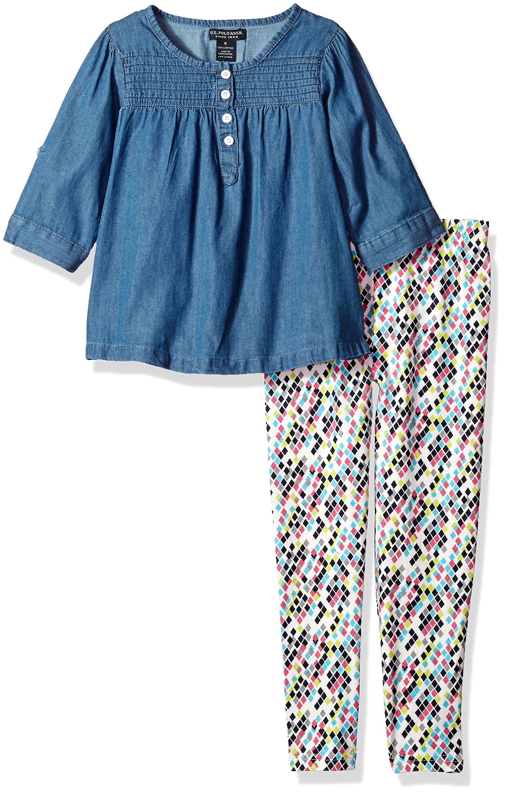 U.S. Polo Assn. Girls' Big Fashion Top and Legging Set, Blue Wash-KZ36, 10 by U.S. Polo Assn. (Image #2)