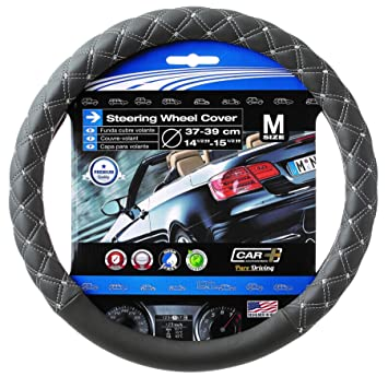 Amazon.com: SUMEX Gray White Stitching Steering Wheel Cover Quilted Diamond Odorless: Automotive