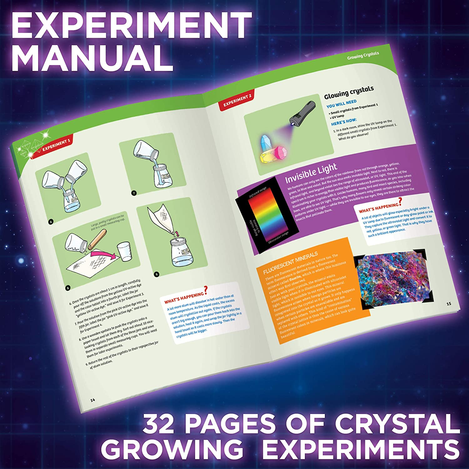 Thames /& Kosmos Growing Thames and Kosmos 643522 Kit Ages 10 Learn About The Structure and Geometry Beautiful Treasure Chest 15 Experiments Craft Crystal geodes