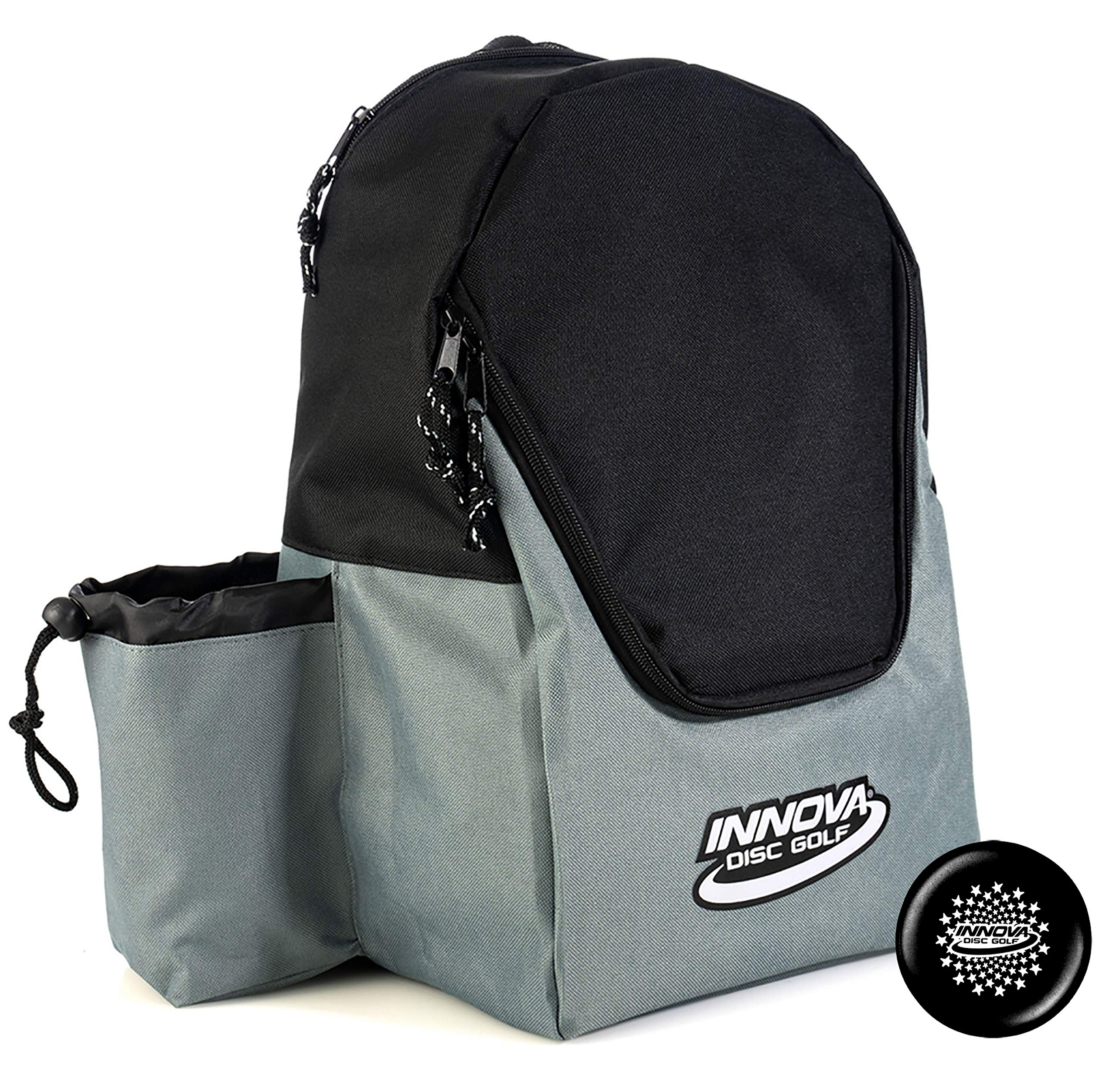Innova Discover Pack Backpack Disc Golf Bag - Holds 15 Discs - Lightweight Easy to Carry - Includes Innova Limited Edition Stars Mini Marker (Black/Gray) by Innova Discs