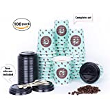 PREMIUM Set of 100 Paper Coffee hot Cups, Disposable Coffee Cups with Lid, 12 Oz To Go Cups with Travel Lids and Stirrers, Insulated Triple Walled Rippled Cup design - No Sleeve required