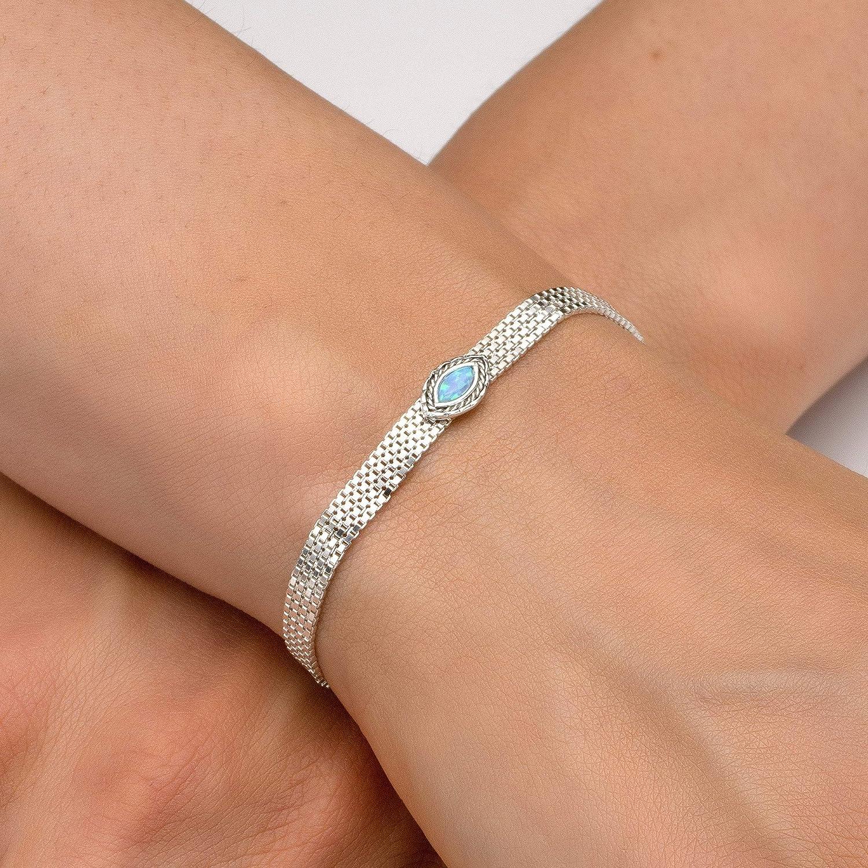 Classic Tennis Bracelet with an Oval Shaped Blue Opal,Bracelet Length is 7//18 cm Real Hypoallergenic 925 Sterling Silver not plated Silver Blue Opal Gemstone Tennis Bracelet