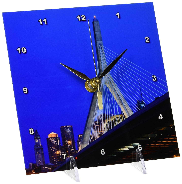 3dRose dc_91023_1 USA, Massachusetts, Boston. The Zakim Bridge - US22 WBI0625 - Walter Bibikow - Desk Clock, 6 by 6-Inch