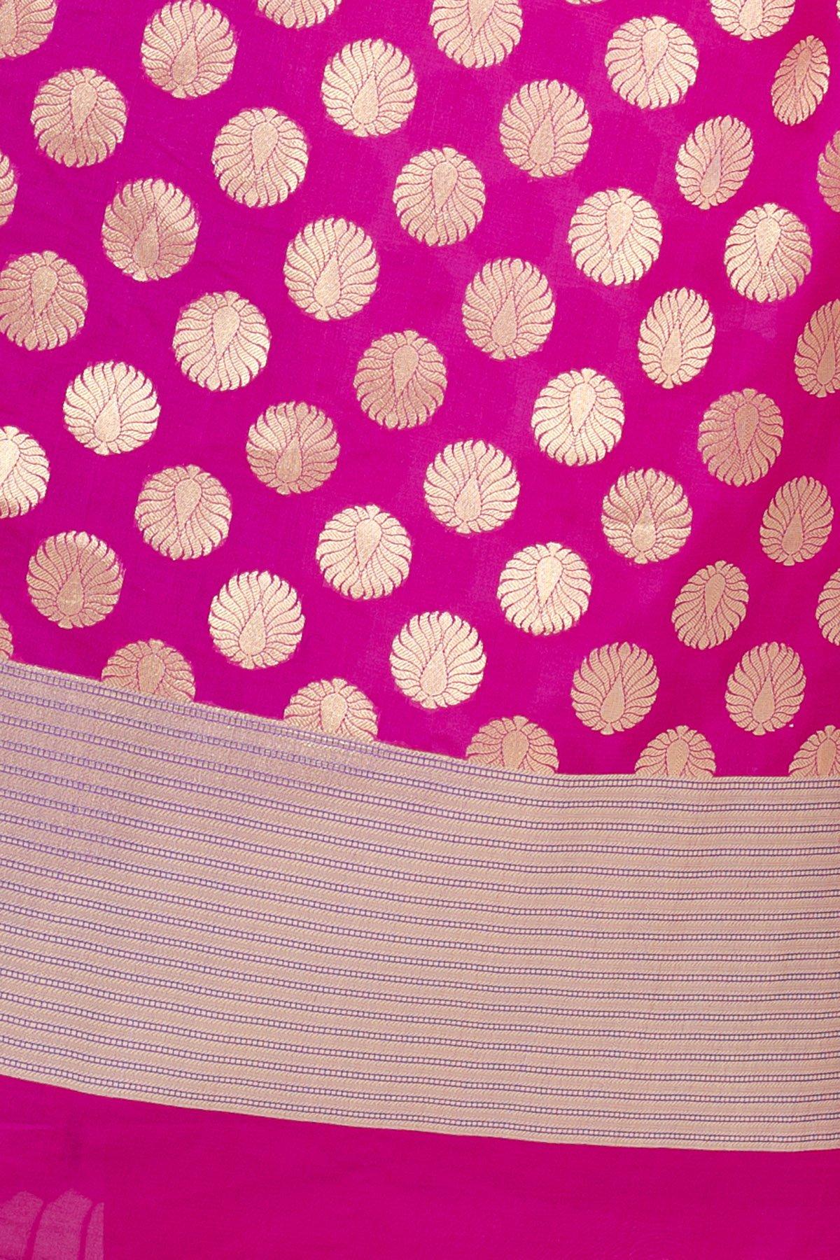 Chandrakala Women's Kataan Silk Blend Cutwork Brocade Banarasi Dupatta (Magenta) by Chandrakala (Image #4)