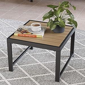 EdenbrookCliffsideMetalPatio Furniture - Mix and Match Modern Outdoor Furniture Pieces, Metal Table with Wood Top