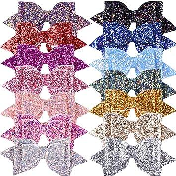 Amazon.com: SIQUK 14 piezas de lazos de pelo con purpurina ...