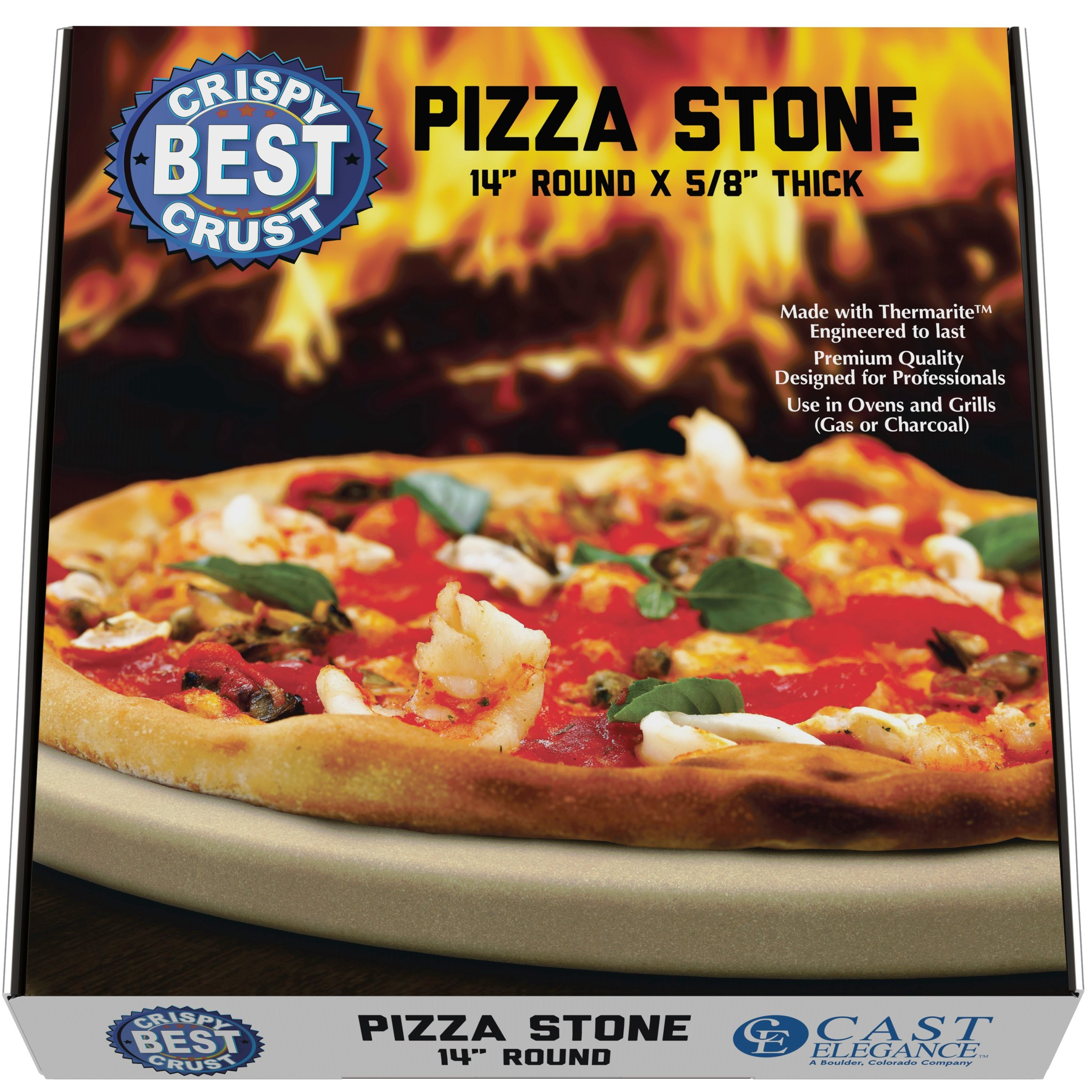 Pizza Stone for Best Crispy Crust Pizza, Only Stoneware with Thermarite (Engineered Tuff Cordierite). Durable, Certified Safe, for Ovens & Grills. 14 Round 5/8 Thick, Bonus Recipe Ebook & Free Scraper by CastElegance