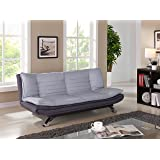 Fabric 3 Seater Sofabed in Duck Grey/Charcoal Fabric with Chrome Legs