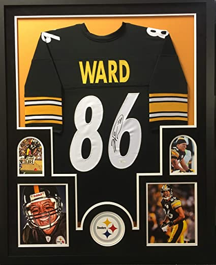 fd8409e8407 Hines Ward Pittsburgh Steelers Signed Autograph Black Custom Framed Jersey  Suede Matted JSA Witnessed Certified at Amazon's Sports Collectibles Store