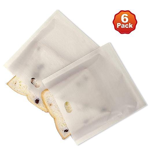 Bolsas de tostadora reutilizable tostada bolsillos antiadherente tostado bocadillos bolsas