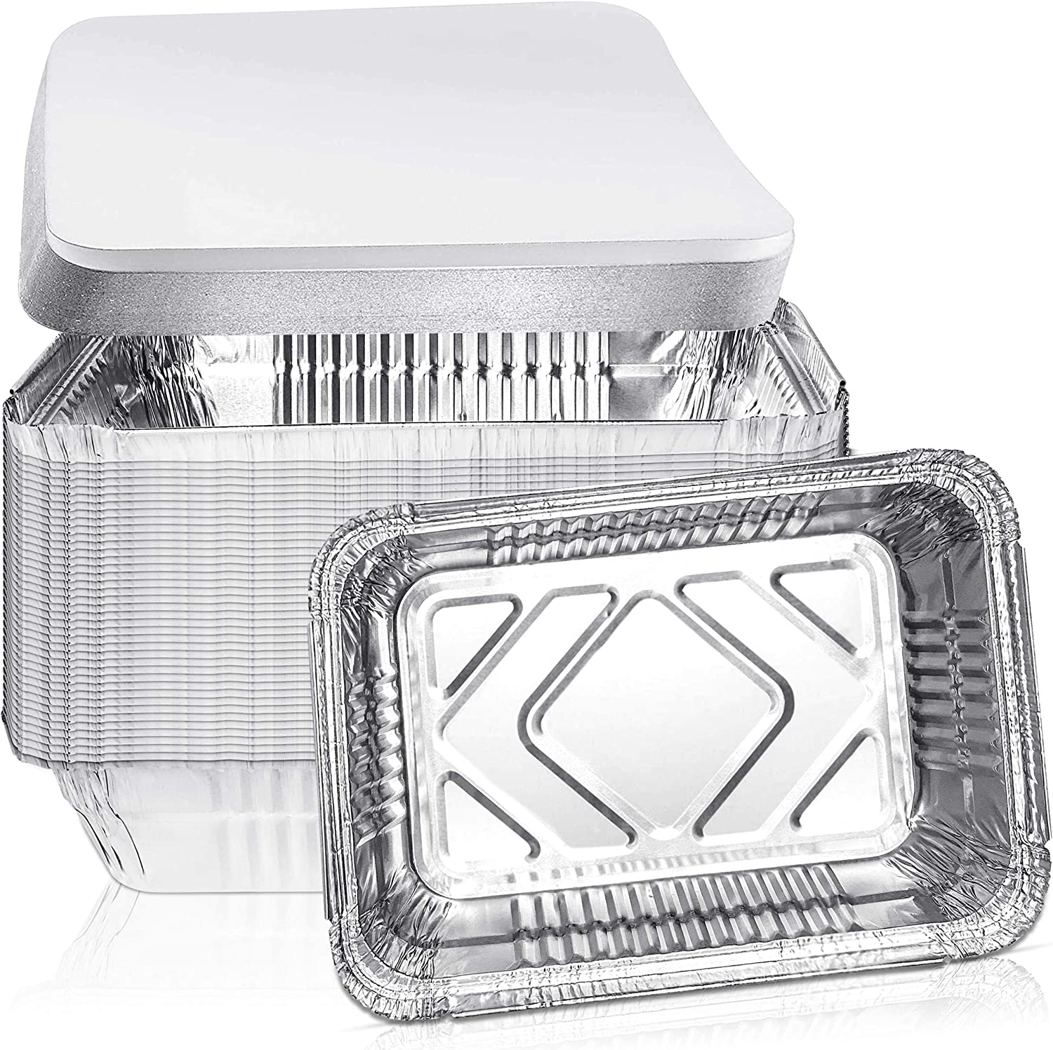 F.M Food Master Disposable Aluminum Oblong Foil Pans with Lids –Heavy Duty Food Storage Tray Containers with lids - Recyclable Tin Liners For Cooking Baking,Takeout (50 Pieces) 8.4