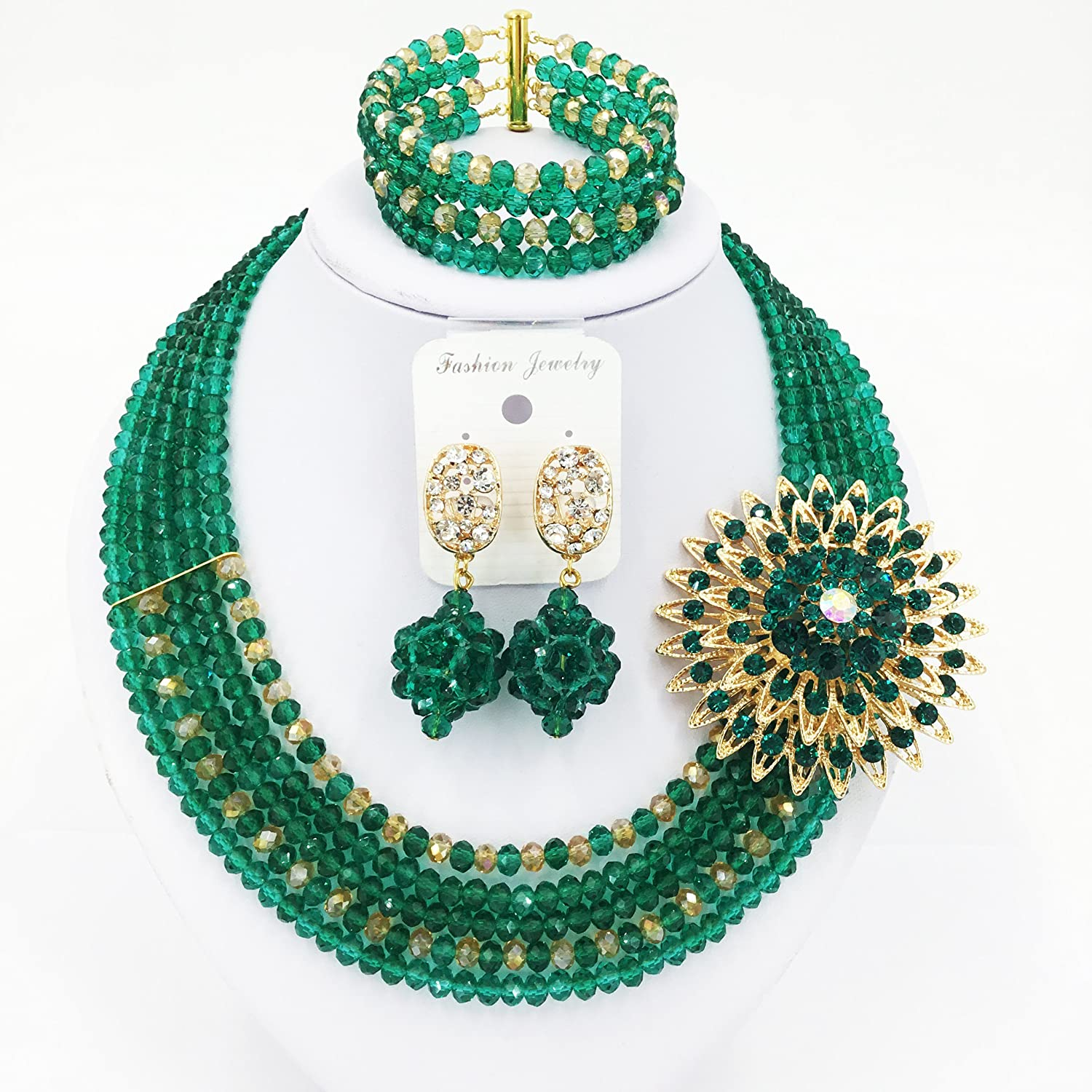 0af6a7a3e6dca aczuv 5 Rows Nigerian Beaded Jewelry Set Women African Wedding Beads  Crystal Necklace and Earrings