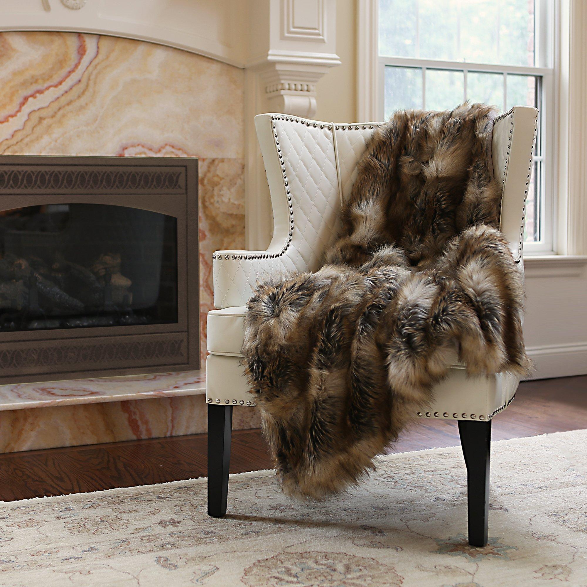 Best Home Fashion Faux Fur Throw - Lap Blanket - Amber Fox - 58''W x 36''L - (1 Throw)