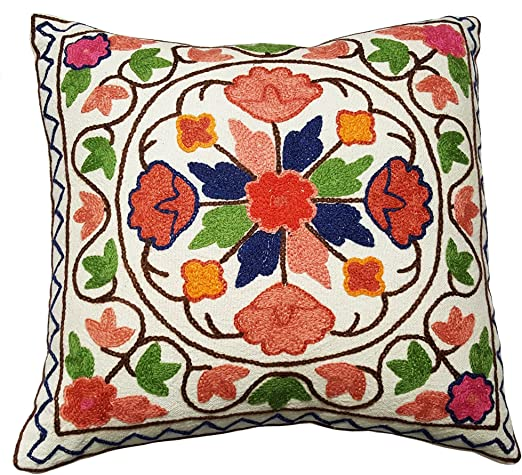 Crewel Embroidered Cotton Cushion Covers Kashmir PillowCase ~ 16 Design Choice