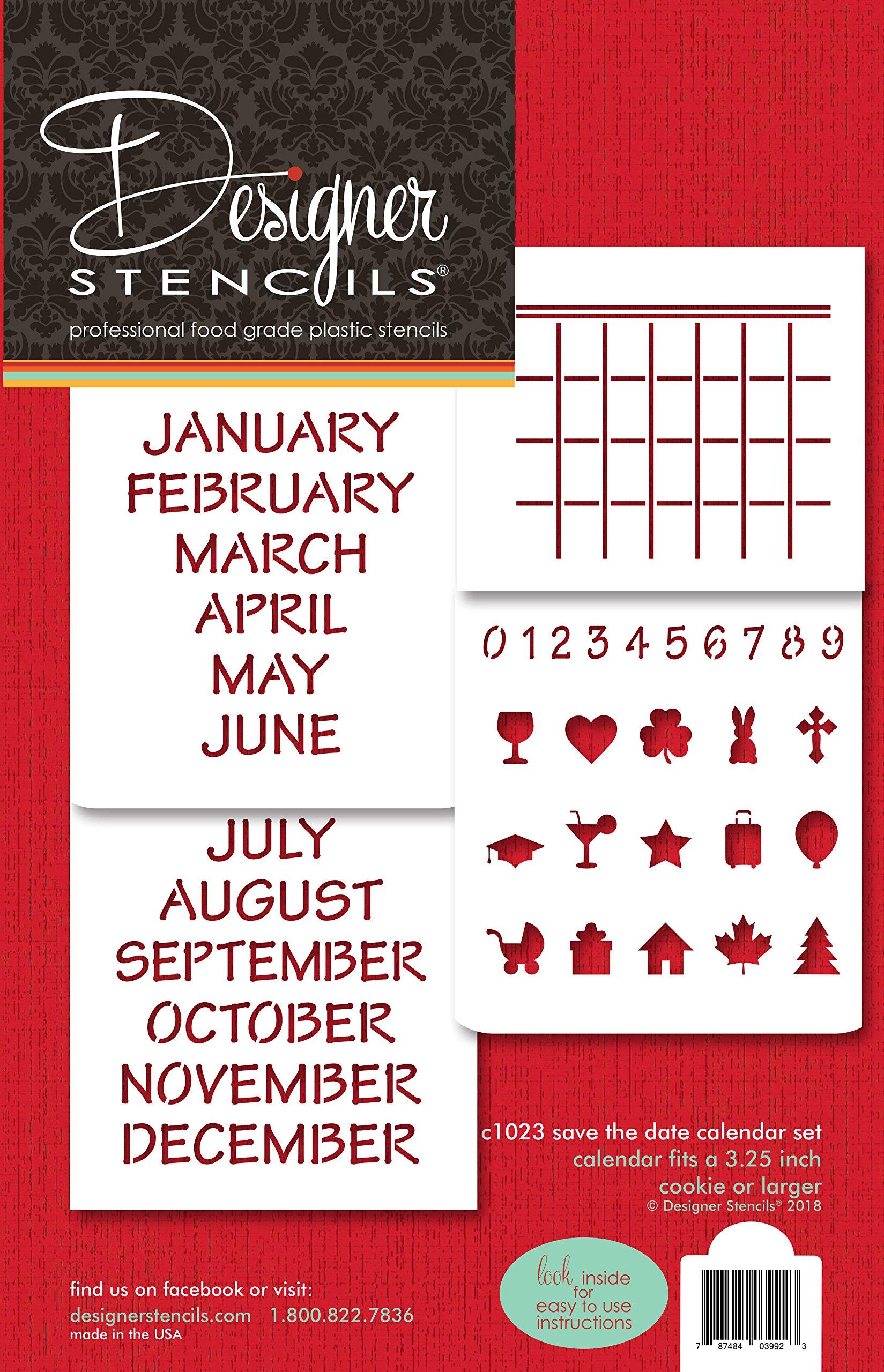Save the Date Calendar Cookie Stencil Set C1023 by Designer Stencils