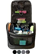 WAYFARER SUPPLY Hanging Toiletry Bag: Pack-it-flat Travel Kit, Black