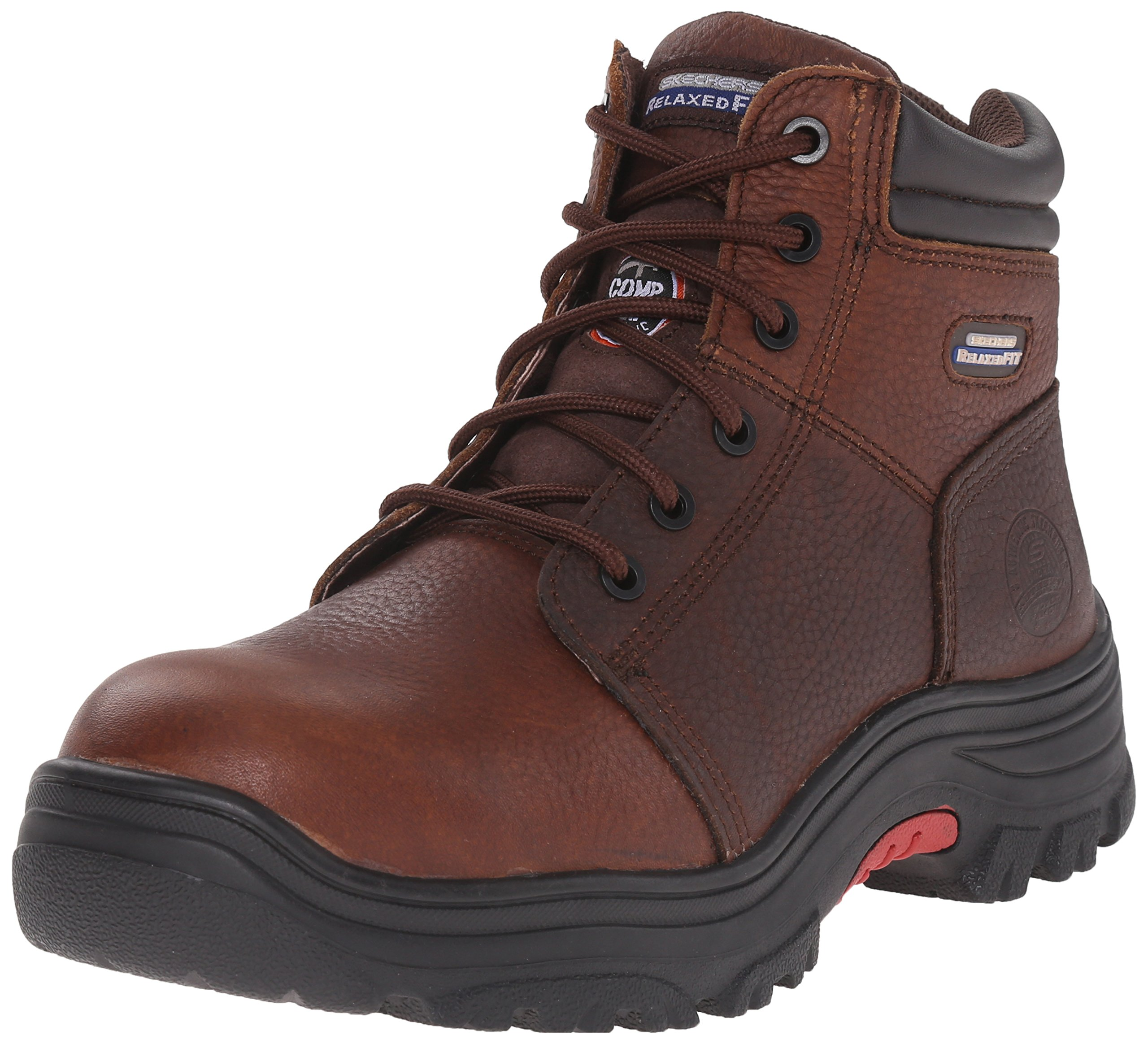 Skechers for Work Men's Burgin Work Boot,Dark Brown,7.5 M US