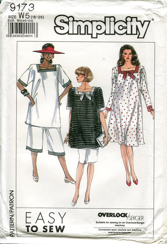 Simplicity Pattern 9173 maternidad vestido, túnica, falda y ...
