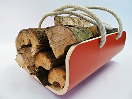 White Modern Log Basket Carrier by Lola and Daisy Designs