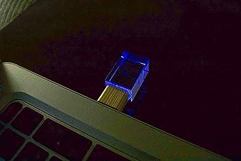 Transparent Crystal & Bamboo USB Flash Drive 16GB 2.0 Blue LED