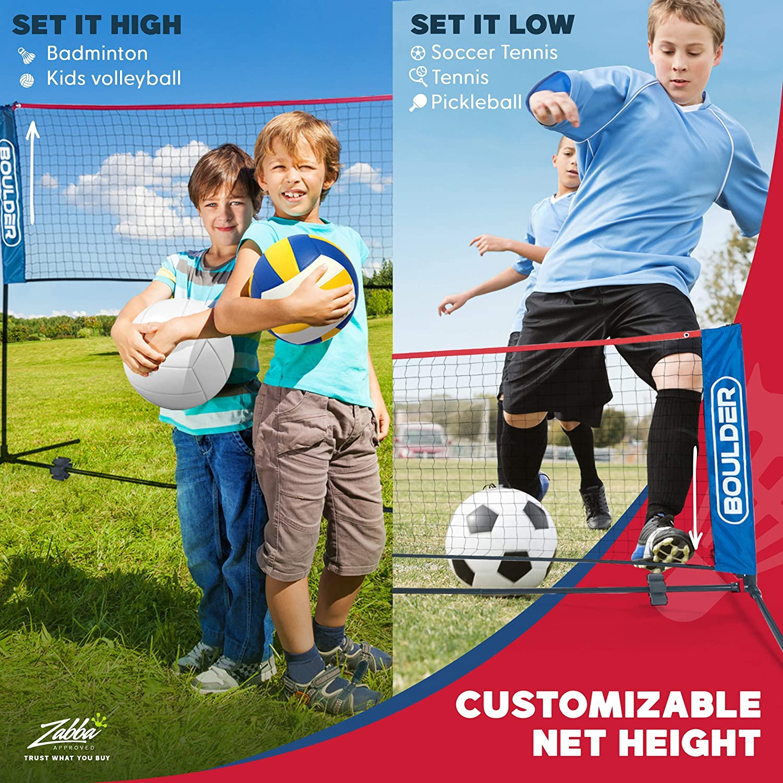 Boulder Portable Badminton Net Set - for Tennis, Soccer Tennis, Pickleball, Kids Volleyball - Easy Setup Nylon Sports Net with Poles : Sports & Outdoors